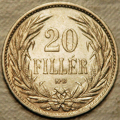 Hungary 20 Filler 1914 (Original Issue!) High Grade With Mint Luster!