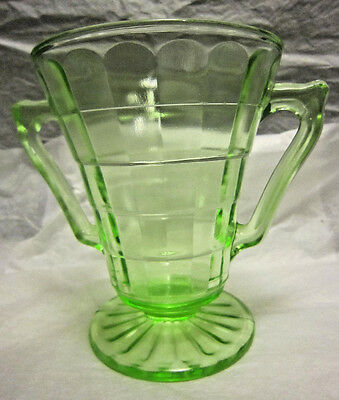 Green Depression Sugar Bowl In Block Optic Design by Hocking Glass Co.