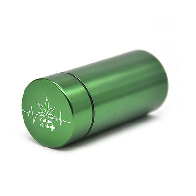 "1 X ""canna clinic+"" Stash Jar-Airtight Smell Proof Aluminum Herb Container-Green"