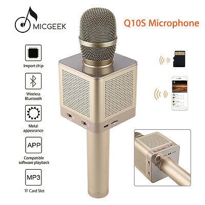 MicGeek Q10S Wireless Microphone Bluetooth KTV Player ACC Mode Fr Android Gold