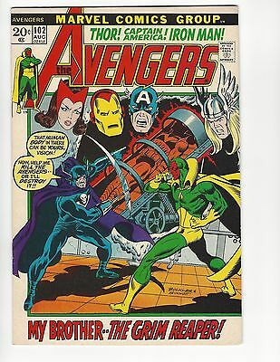 The Avengers No. 102 My Brother the Grim Reaper FN/VF 7.0 Marvel Comic Book 1972