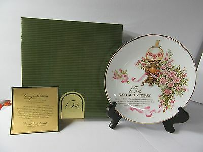 Vintage Avon Porcelain Collector Plate 15th Anniversary - The Avon Rose - MIB