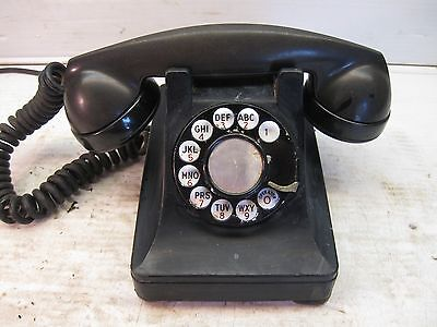 Vintage Bell System Western electric System F1 black desk rotary phone 1930 1940