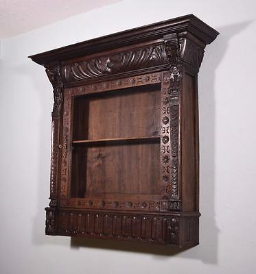 Antique French Renaissance Revival Display Wall Cabinet in Oak with Lions