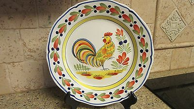 """Henriot Quimper Rooster Chicken Wall Plate France 10"""" Signed"""