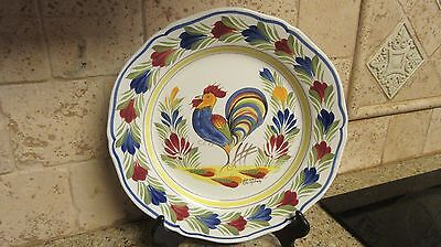 """Henriot Quimper Rooster Wall Plate France 10"""" Signed"""