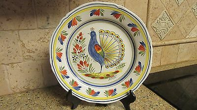 """Henriot Quimper Peacock Wall Plate France 10"""" Signed"""