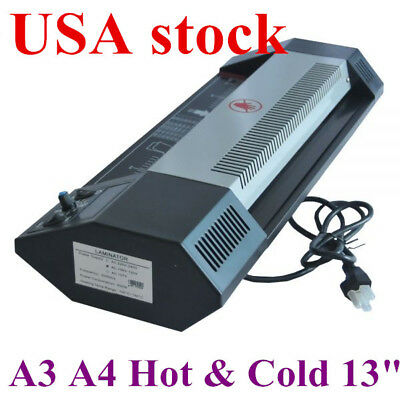 """Steel Thermal Laminator A3 A4 Hot & Cold 13"""" Machine Roller Pouch Photo Office"""