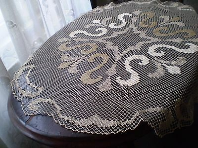 Antique Hand-knit unique filet oval  tablecloth Colour a cappuccino