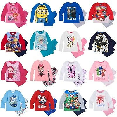 Boys Girls Kids Character Long Sleeve Pyjamas pjs Age 2-12 yrs Xmas gift
