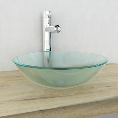 vidaXL Bathroom Sink Basin Tempered Cloakroom Above Counter Glass 42 cm Frosted