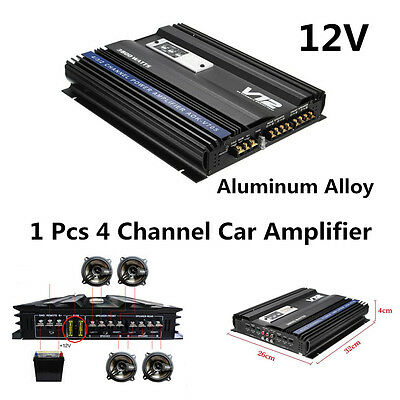 High Power 3800W 12V 4 Channel Car Amplifier Audio Power Stereo 4Ohm Amplifier