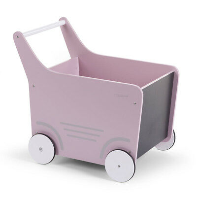 CHILDWOOD Wooden Toy Stroller Baby Walker Activity Push Along Pink WODSTRP