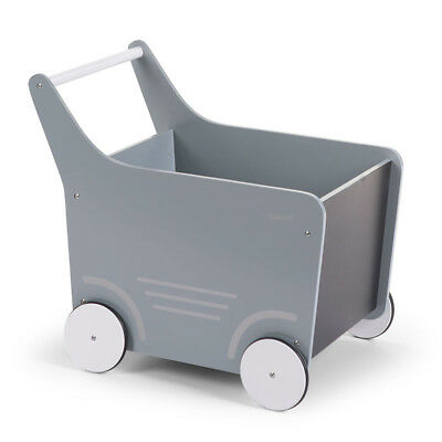 CHILDWOOD Wooden Toy Stroller Baby Walker Activity Push Along Grey WODSTRM