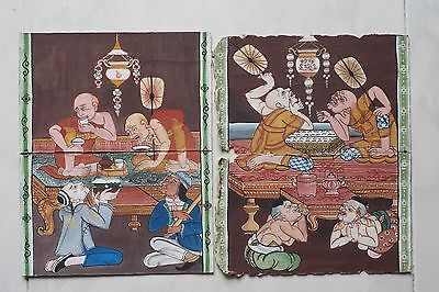 Antique Thailand Manuscript Painting from the 19th Century on book