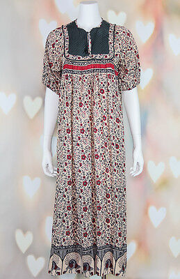 VTG 70s BOHO Ethnic *TRIBAL FLORAL* Hippie Cotton INDIA Festival TENT DRESS XS-M