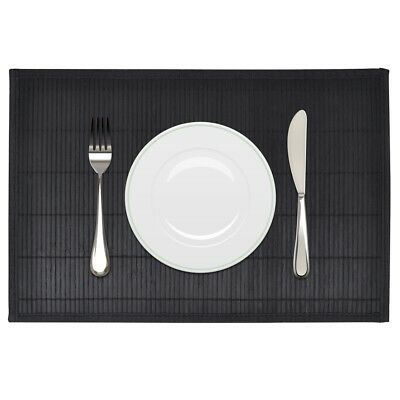 Pack of 6 Bamboo Rectangle Placemats 30 x 45 cm Black Non-slip