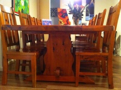 Solid Timber 10 seat Dining Table and 10 chairs