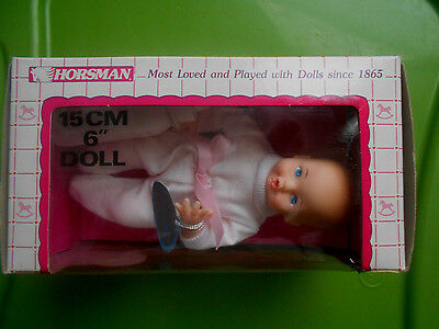 "Vintage 1988 Horseman Thirsty Baby 6"" Doll With Bottle"