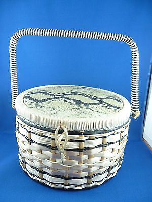 Vintage Woven Sewing Basket With Sky Blue  Silk Interior Lining