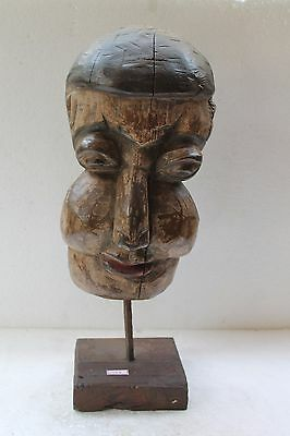 Antique Old Hand Craved Wooden Tribal Face Wall Hanging Mask On Stand NH3498