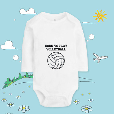Baby clothing custom print T shirt cotton soft body Born to play volleyball  721