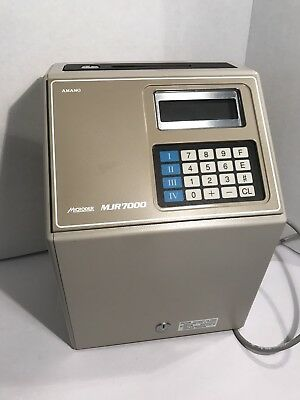 Amano MJR 7000 Computerized Calculating Time Clock W/ Manual Key And Time Cards