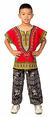 Lofbaz Unisex Child Traditional African Printed Dashiki Red S