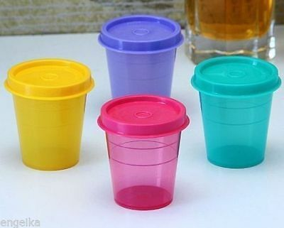 Tupperware Plastic Midget Multi-color 60 ML Small Containers- Set of 4 NEW!