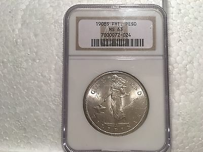 Philippines 1908 S Peso NGC MS63 Brilliant Choice BU flashy low PCGS pop
