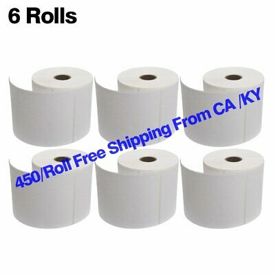 6 Rolls 4x6 Direct Thermal Shipping Labels 450/Roll Zebra Eltron 2844 ZP450 USPS