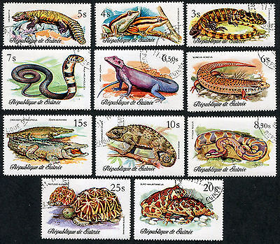 GUINEA 1977 Reptiles, SET OF 11, USED Never Hinged