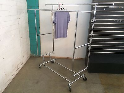 Double Collapsible Clothes Rack On Wheels Brand New In Box Shop Fittings