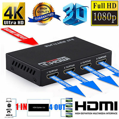 Full HD 1080P 4K 1 In 4 Out Verteiler HDMI Splitter 4 Port Switch für 3D HDTV PC