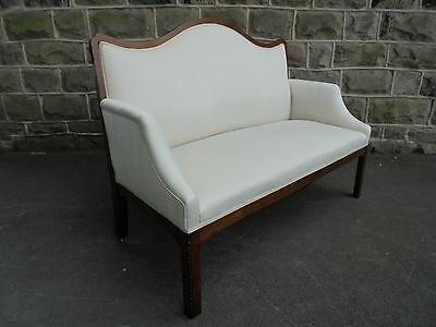 Antique English Mahogany Upholstered Sofa Settee Chaise