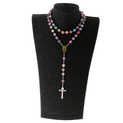 Jesus Prayer Cross Pendant Classical 8mm Beads Chain Long Rosary Necklace