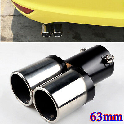 Universal 63mm Stainless Steel Chrome Exhaust Tail Rear Muffler Pipe Tailpipe
