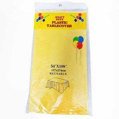 12 x Yellow Colour Rectangle Plastic Table Cloth Cover Wedding Birthday Party