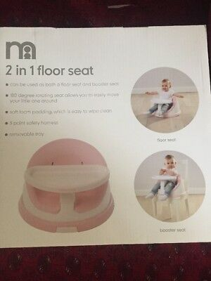 Mothercare 2 In 1 Floor Seat High Chair Dinner Play Booster Pink New Mama & Papa