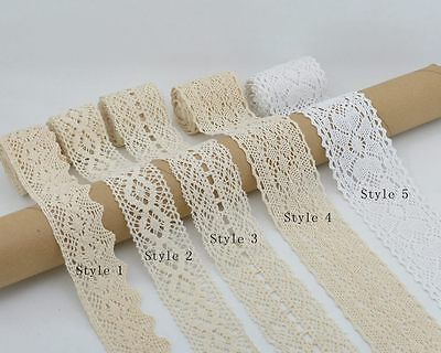 Cotton Lace Trim Ribbon Vintage Crochet Edge Applique Wedding DIY Sewing Craft