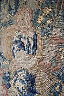 Fine 17th Century French Aubusson Tapestry Man with Harp Animals Monkey Deer