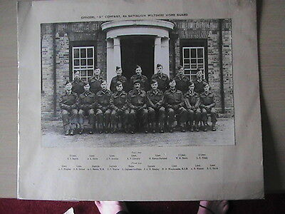 Officers 4th Battalion D Coy Wiltshire Home Guard Named Photograph WW2