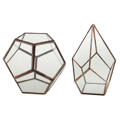 2x Antique Bronze Geometric Terrarium Air Plant Succulent Planter Tabletop