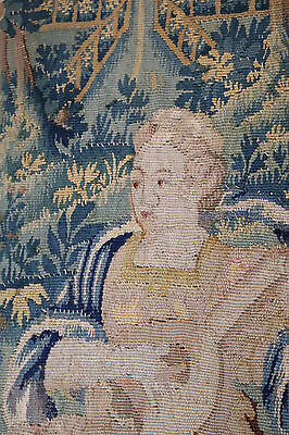 Fine 17th Century French Aubusson Tapestry Young Woman Playing a Lute