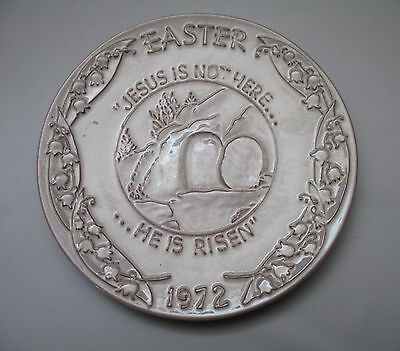 "Frankoma Easter Plate 1972 White Sand 7 1/4"" Oral Roberts Tulsa USA Made"