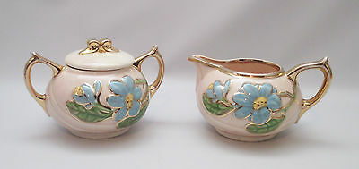 Hull Pottery New Magnolia Creamer Sugar Bowl H21 + H22 Blue Floral 1940s