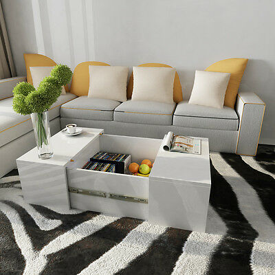 Living Coffee Table High Gloss White Square Modern Contemporary Room Furniture