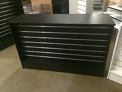 Black slatwall retail shop counter, brand new 1500 x 510 x 910. BACK IN STOCK