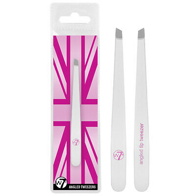 W7 Cosmetics - Angled Point Tip Tweezer Remove Eyebrow Hair Saloon Grooming Look