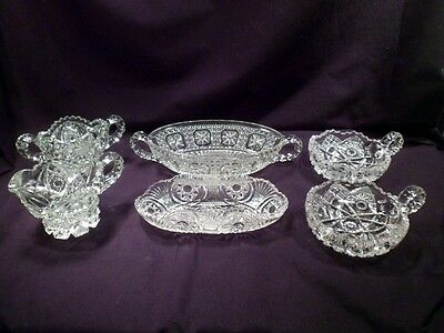 Collection, 6 Pieces Early American Pattern Glass, Canoe, Celery, Sugar, Creamer